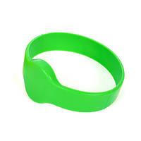 Зеленый rfid браслет  водонепроницаемый с чипом Mifare 1K S50 13.56 MHz, совместимый