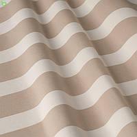 Уличная декоративная ткань в полоску бежевого и белого цвета в беседку, для штор 84334v6