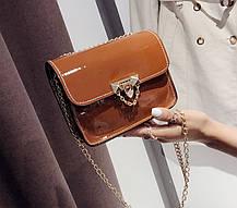Модная глянцевая сумка сундучок на цепочк, фото 3