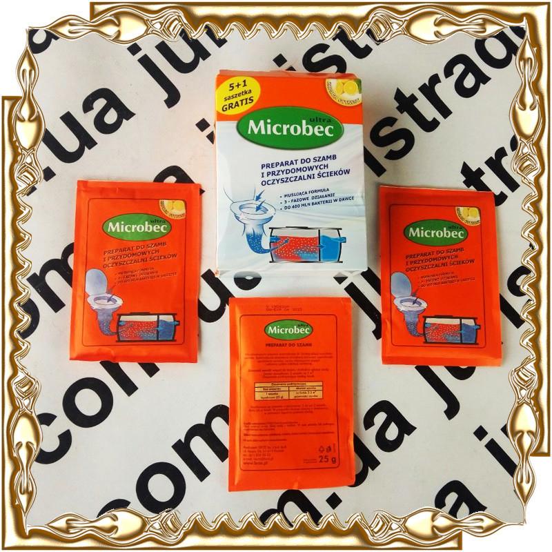 Средство для выгребных ям и септиков Bros Microbec Ultra 25 гр. 6 шт./уп.