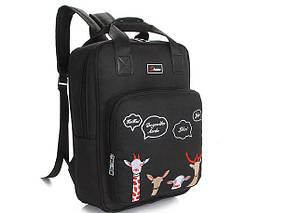 Большой тканевый рюкзак сумка с вышивкой зверей