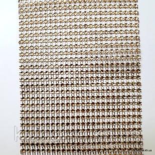 Шина с имитацией стразового полотна, Ширина: 12 см, Цвет: Золото (1 метр)