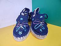 Женские синие босоножки вышитые бисером 39 размер маломерит