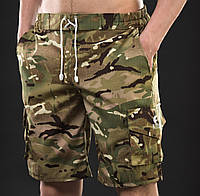 Шорты мужские камуфляжные YSTB Multicam мультикам с накладными карманами (рип-стоп, милитари, модные), фото 1