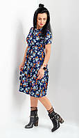 Стильное молодежное платье из легкой вискозы темно-синие размер 44-46,48-50