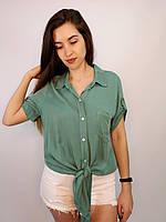 Нежная блузка с завязкой спереди и регулировкой рукава, 100% вискоза, Италия