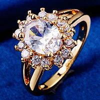 Кольцо, покрытие золотом 18К, белые фианиты, 18 р