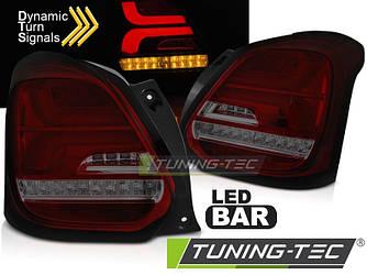 Диодные фонари Led тюнинг оптика Suzuki Swift 6 красно - тонированные