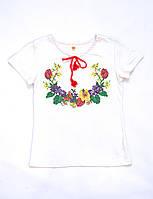 Футболка-вишиванка трикотажна біла для дівчинки Тюльпан Piccolo L