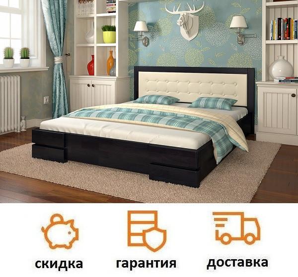 Кровать деревянная с мягким изголовьем Регина фабрика Арбор Древ