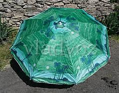 Большой пляжный зонт зонтик с напылением 150 см диаметр 180 см высоты зелёный