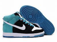 Кроссовки женские Nike Dunk High, кроссовки женские найк данк черно-синие, фото 1