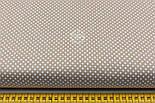 """Лоскут ткани """"Пунктирный горошек"""" белый на тёмно-бежевом №1937, фото 3"""