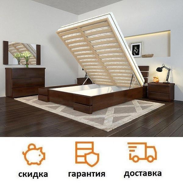 Кровать из натурального дерева с подъемным механизмом Дали Люкс фабрика Арбор Древ