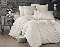 Комплект постільної білизни First Choice New trend Сгем сатиновий 220-200 см кремовий, фото 1