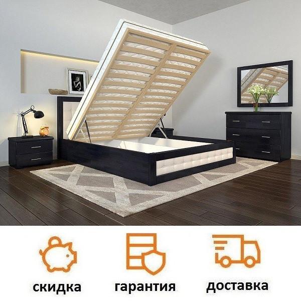 Кровать деревянная с подъемный механизмом  и мягкими вставками Рената Д фабрика Арбор Древ