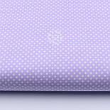 """Лоскут ткани """"Пунктирный горошек"""" белый на сиреневом №1933, фото 2"""
