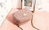 Сумка клатч жіночий в стилі Stella McCartney Stella Star із зіркою (рожева), фото 4