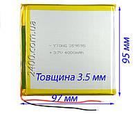 Аккумулятор 4000мАч 359595 мм 3,7в универсальный для планшета 3.7v 3,5*95*97 (4000mAh), фото 1