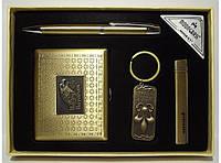 MTD-66 Подарочный набор MOONGRASS: ручка + брелок + зажигалка + портсигар (старая бронза), Презент