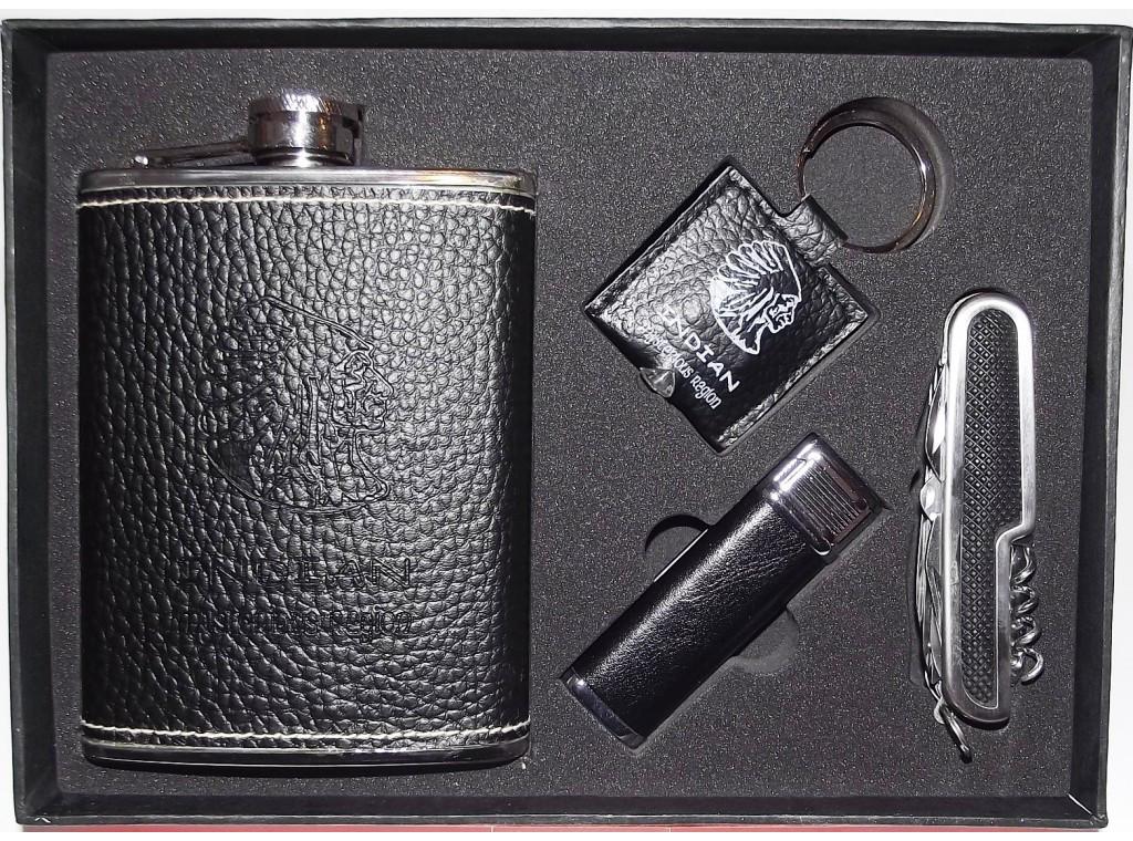 NFDF-04 Мужской набор с флягой, Фляга + зажигалка + брелок + складной нож/штопор, Набор для мужчины с флягой