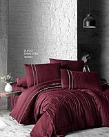 Комплект постельного белья First Choice Stripe Style Bordo сатиновый 220-200 см бордовый