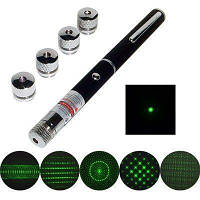 Указка LASER GREEN 5IN1, Лазерная указка с 5-ю насадками, Зеленая лазерная указка, Лазер зеленый , фото 1