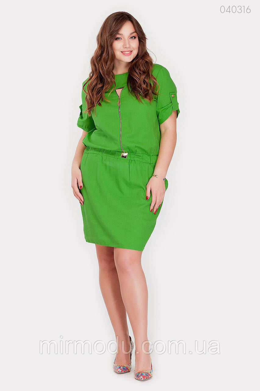 Батальное летнее платье Чили лен  купить в Украине (3 цвета) с 50 по 56 размер (рин)