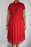 c327d18c2fd Красное шифоновое платье с коротким рукавом и жабо Solar