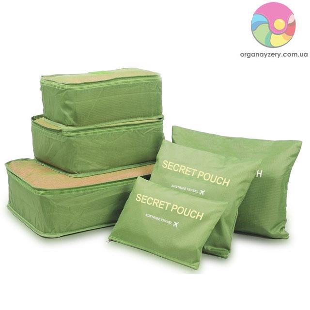 Набор сумочек в чемодан (6 шт.) (зеленый)