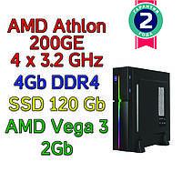 Системный блок / ПК  ( AMD Athlon 200GE  (4 x 3.2GHz) \ A320 \ 4Gb DDR4 \ SSD 120 Gb \ 400W)