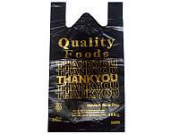 """Пакет майка №3 черная """"Спасибо"""" 30*50 см 250 шт"""