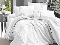 Комплект постельного белья First Choice Satin Stripe Style Beyaz сатиновый 220-200 см белый