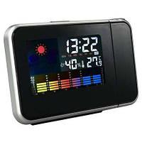 Часы 8190 с проэкоторм, Часы-метеостанция с проектором времени, Настольные часы с будильником, термометром, фото 1