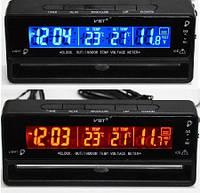 Часы автомобильные VST 7010V, Автомобильные часы с термометром и вольтметром, Часы в машину с будильником