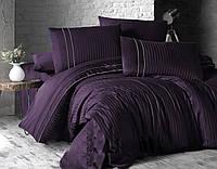 Комплект постельного белья First Choice Satin Stripe Style Mor сатиновый 220-200 см фиолетовый