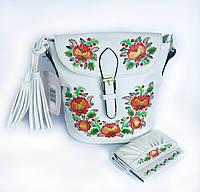 Эксклюзивная модель! Шикарная сумка-почтальон с Петриковской росписью. Кошелёк в Подарок! Ручная работа FB134