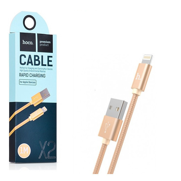 USB кабель HOCO X2 Knitted Lightning 1m. Gold