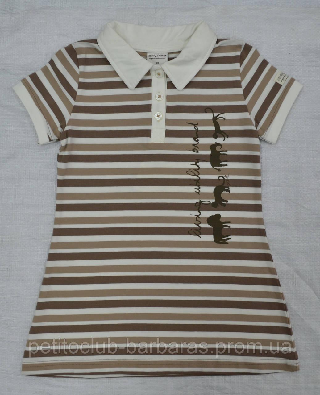Детское летнее хлопковое платье-поло Сафари в полоску (Z&M, Турция)