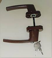 Ручка для металлопластиковых балконных дверей с замком двусторонняя коричневая
