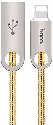 USB кабель HOCO U8 Zinc Alloy Metal Lightning cable 1m золотой, фото 2