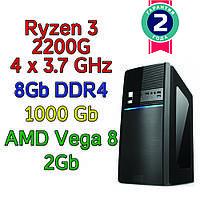 Игровой компьютер / ПК  ( AMD Ryzen 3 2200G  4 x 3.7GHz \ B450 \ 8Gb DDR4 \ 1 Tb \ Vega 8  \ 500W)
