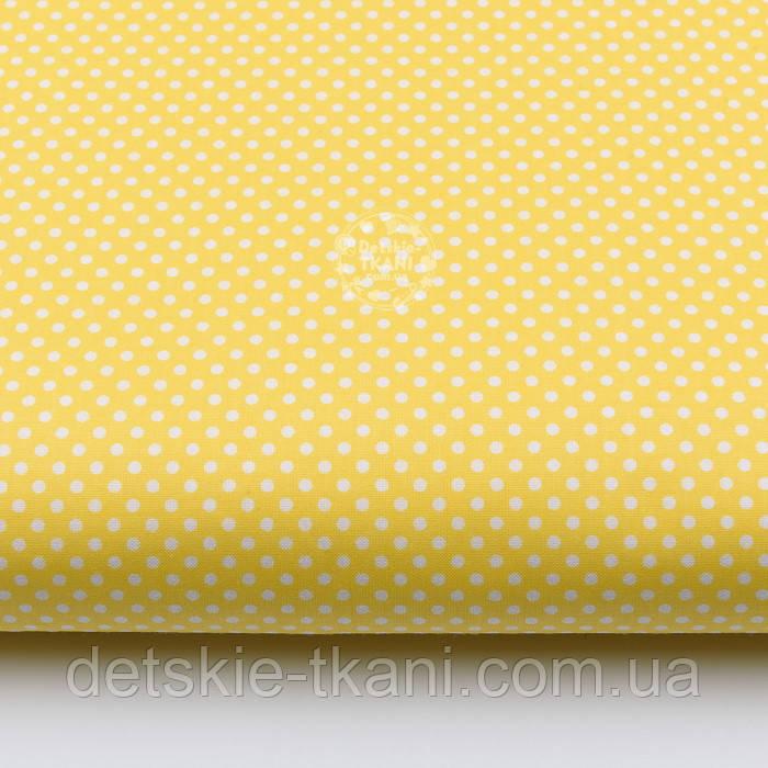 """Лоскут ткани """"Пунктирный горошек"""" белый на жёлтом №1935, размер 31*80 см"""