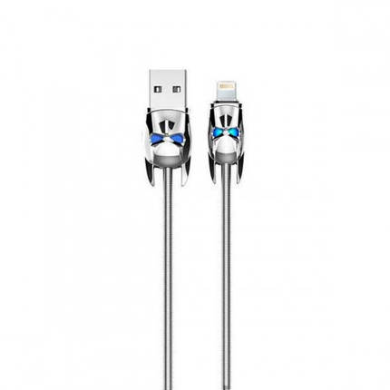 ✅ USB Кабель Hoco U30 Lightning Shadow Knight 1.2 м серебро, фото 2