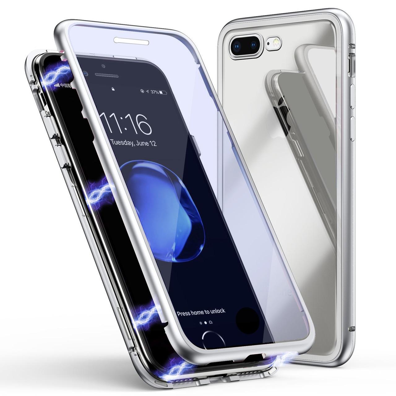 Чехол  накладка xCase для iPhone 7/8 Double-sided Magnetic Case transparent white