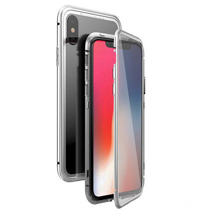 Чехол  накладка xCase для iPhone Х/XS Double-sided Magnetic Case transparent white, фото 2