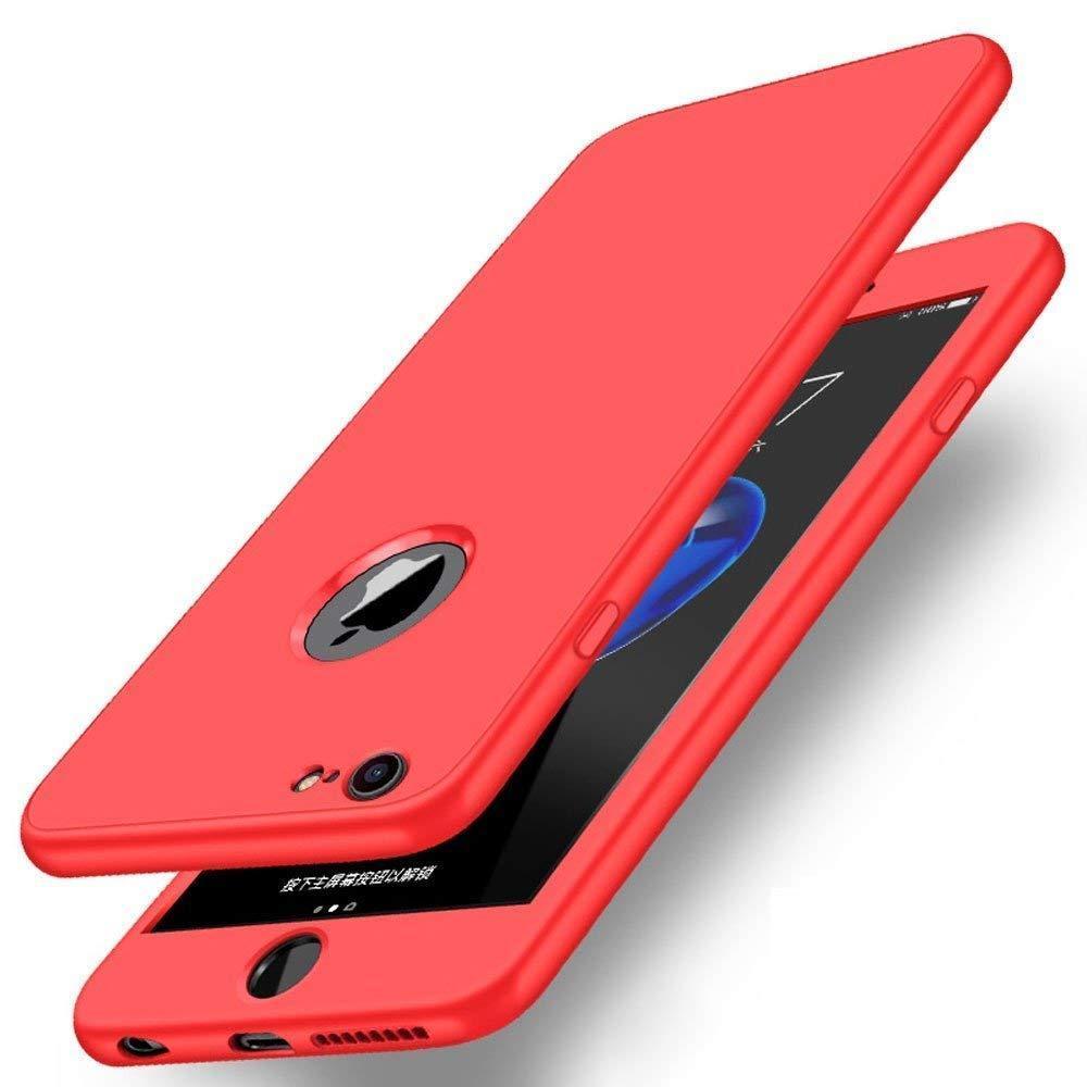 Чехол на iPhone 7/8 красный пластик двухсторонний со стеклом, защита 360 градусов