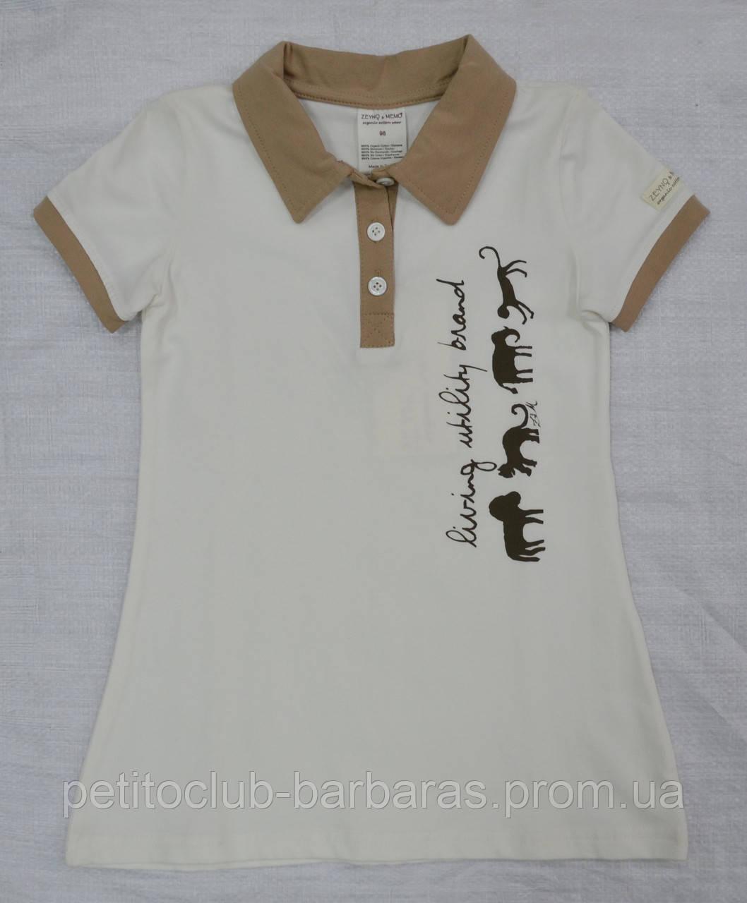 Детское летнее хлопковое платье-поло Сафари крем (Z&M, Турция)