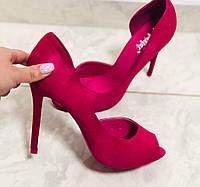 Женские туфли  с открытым носком фуксия,маоиновые