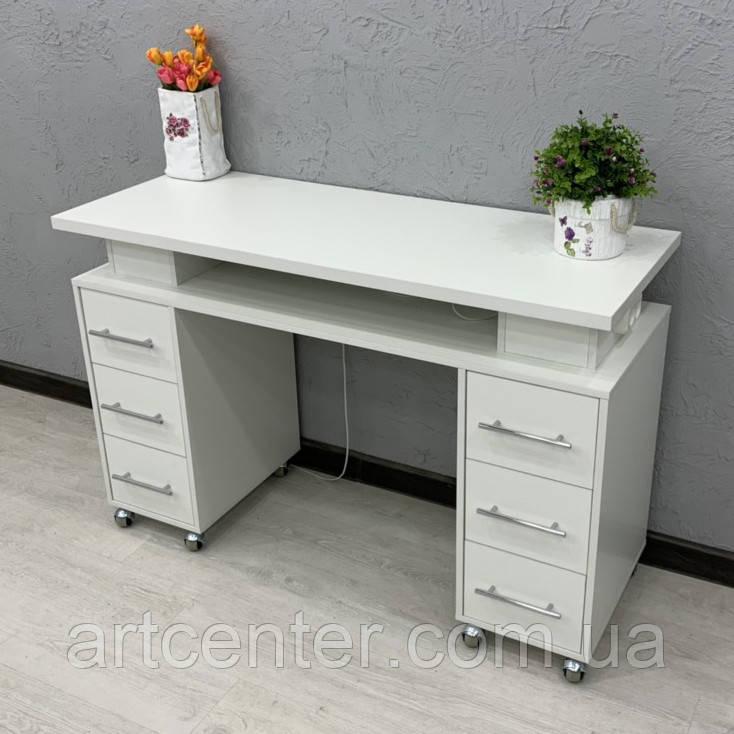 Маникюрный стол на колесиках, с ящиками и розеткой
